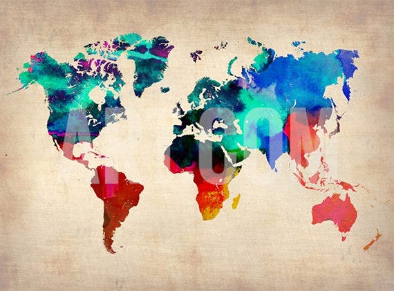 The Water Colour World Map Poster Template Is One Of The Most Recommended  Art Prints Which Can Be Ordered Online. The Wide Variety Of Colors Makes  The World ...