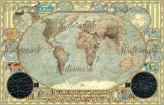 water mark world map poster