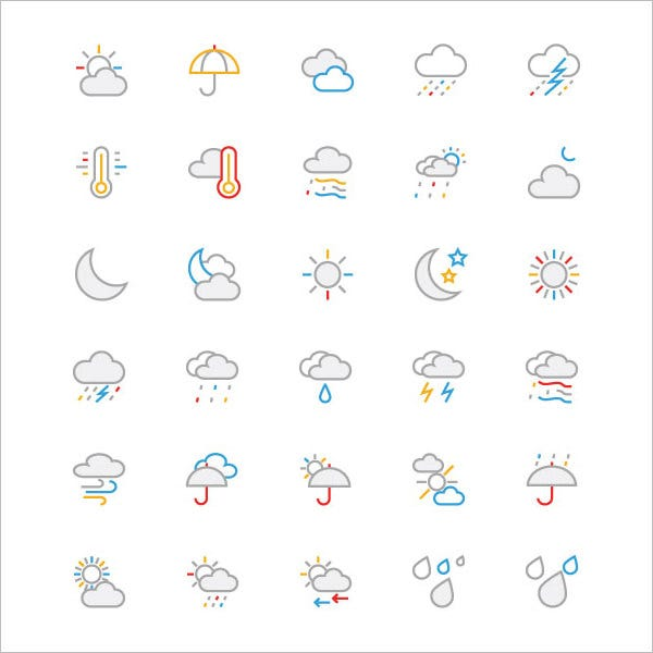 weather colored line icons 60