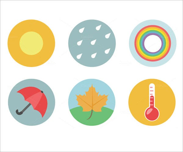 weather flat icons set free 1