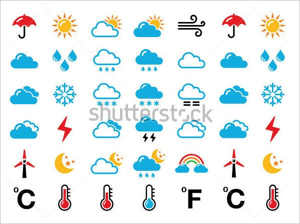 weather forecast colorful vector icons11