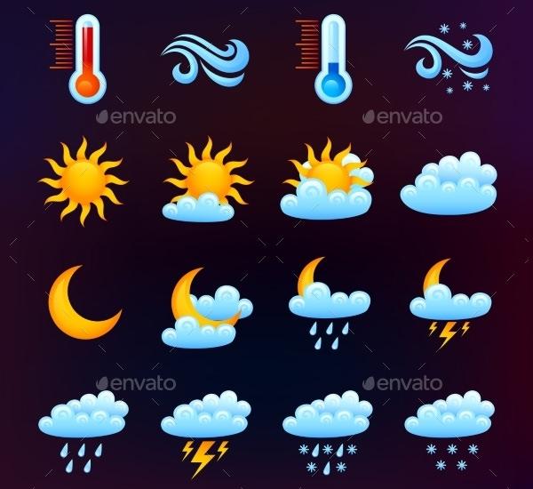 weather icon set black theme