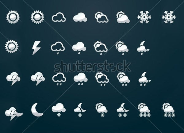 weather icon set silver color