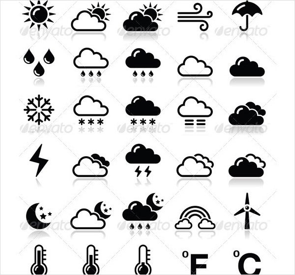 weather icons set vector black 1