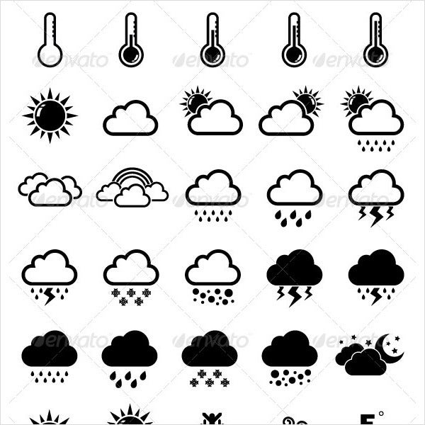 weather icons set in black theme 1