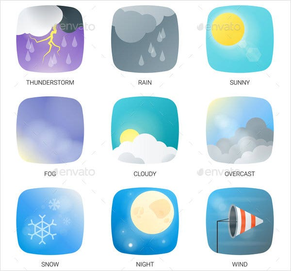 weather icons with round corners