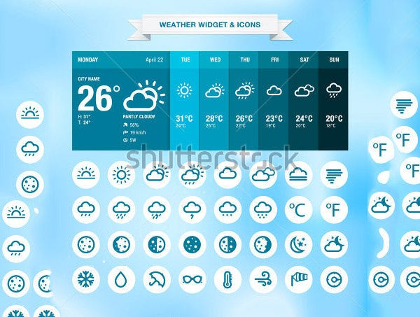 weather widget icons suite