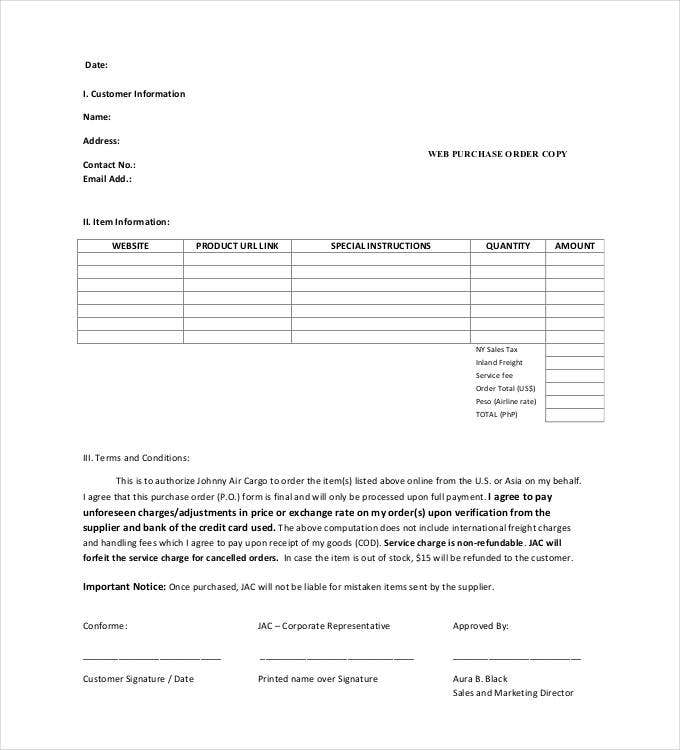 web purchase order copy