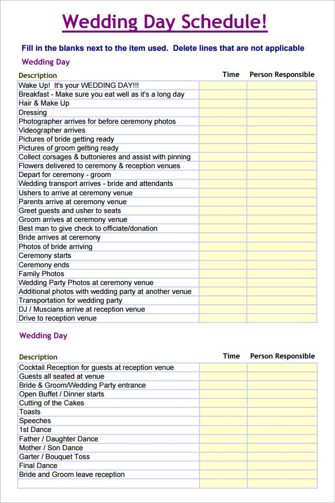 Wedding Schedule Templates Free Word Excel PDF PSD Format - Wedding day itinerary template