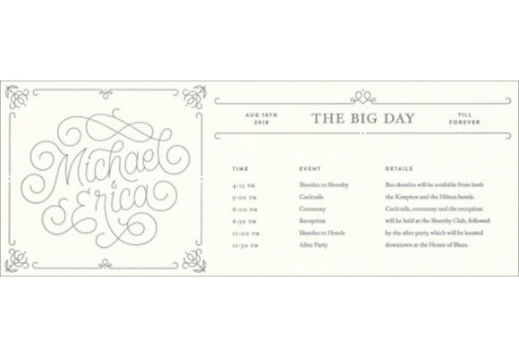 wedding itinerary template for free download