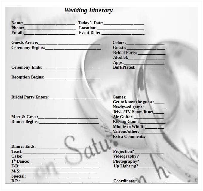 Wedding itinerary template 40 free word pdf documents download wedding itinerary template in word pronofoot35fo Image collections
