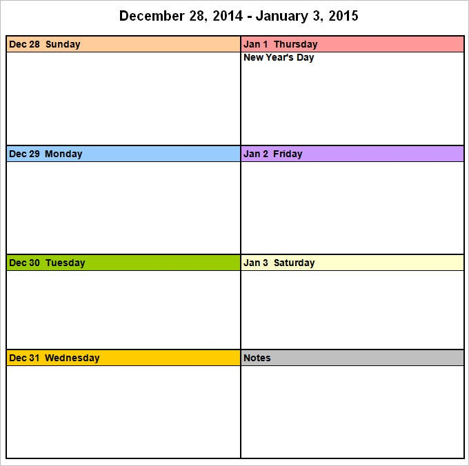Week Calendar Template - 9 Free Word Documents Download | Free