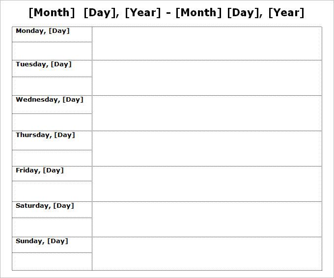 Word Weekly Calendar