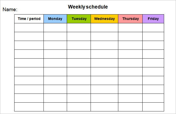 Weekly Calendra Monday Friday Free