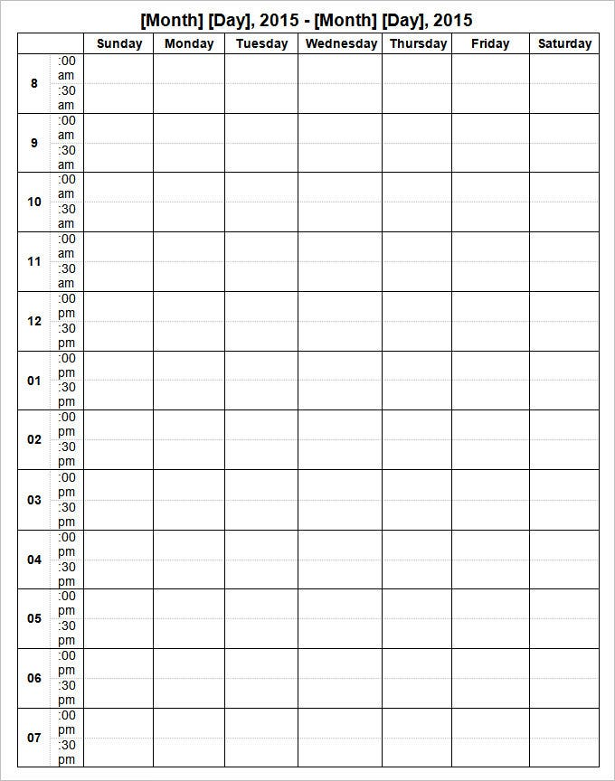 week by week planner template - week calendar template 8 free word documents download