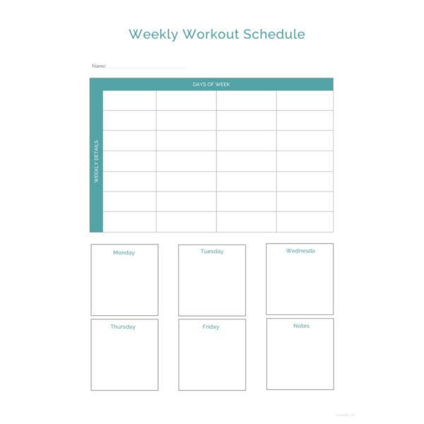 weekly sample workout schedule template