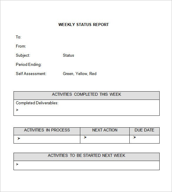 Weekly Status Report Template  Status Report  Project