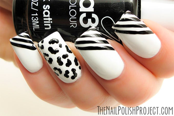 white and black nail design