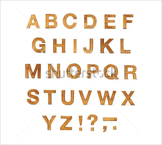 wodden alphabet capital letters and symbols