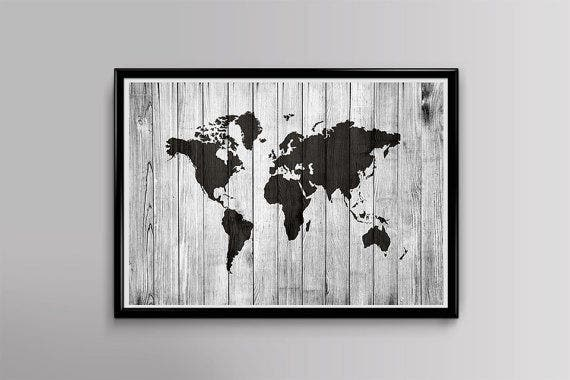 wood world map poster