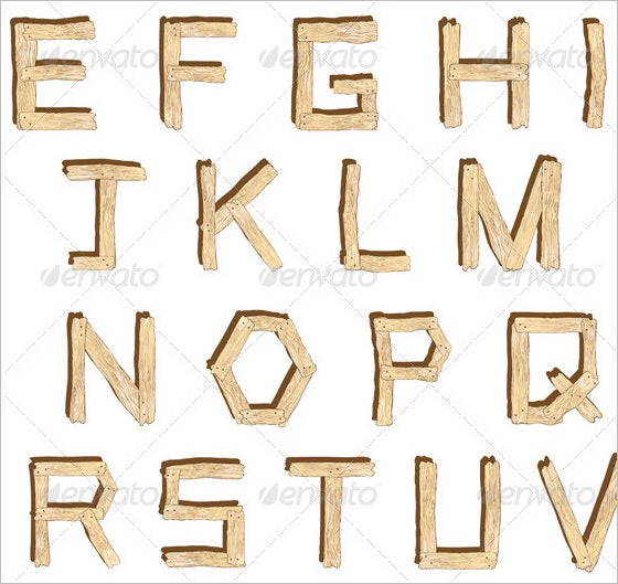 wooden alphabet letter in vector 1
