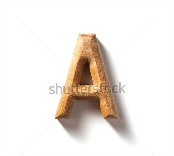 wooden alphabet letter with shadow effect 1