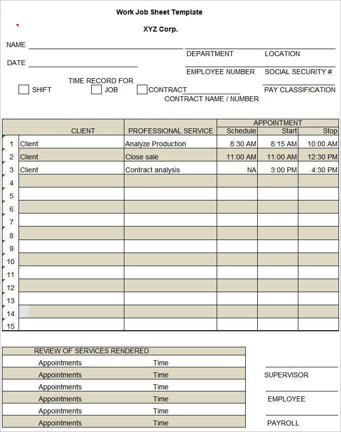 Job Sheet Template  Job Sheet Template Free