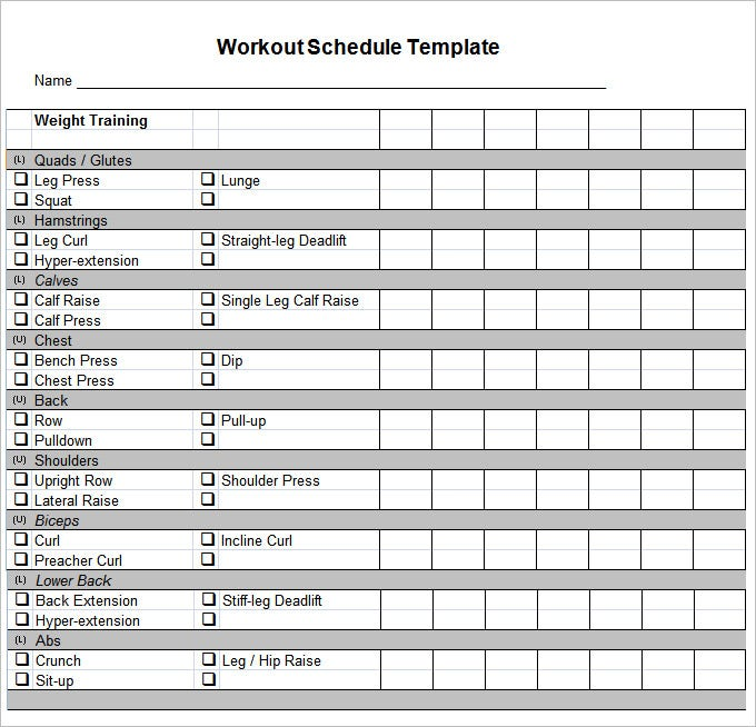 Workout Calendar Template : Workout schedule template free word excel pdf