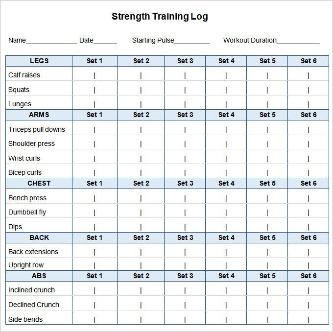 workout plan template excel