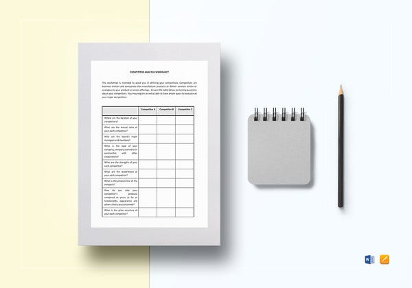 worksheet competitor analysis word template