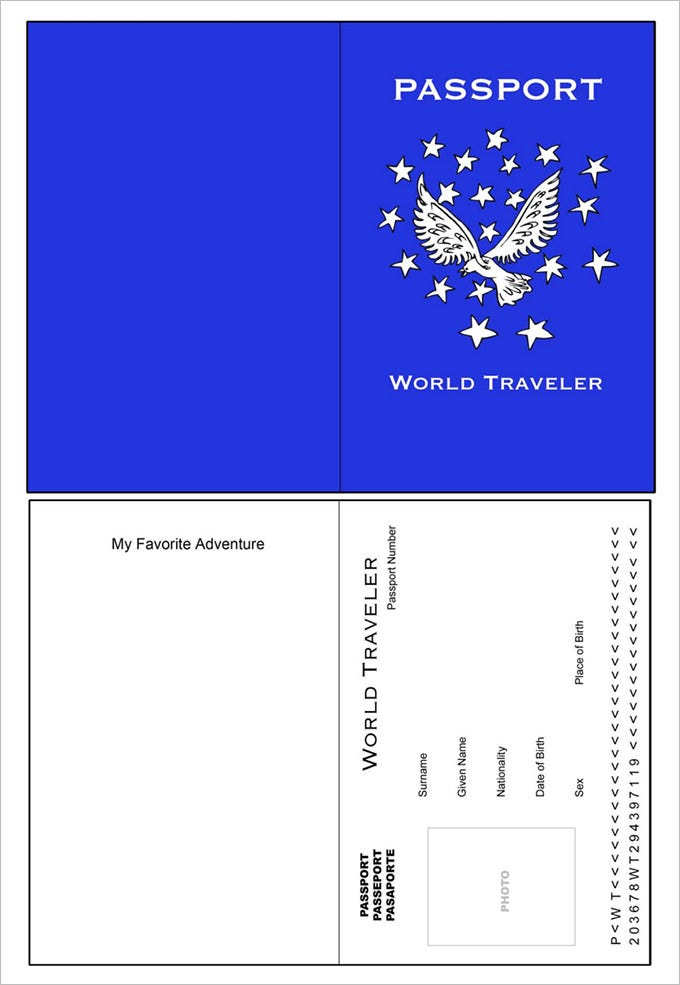 Passport template 19 free word pdf psd illustrator format world traveler passport template pronofoot35fo Image collections