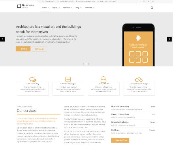 yellow business construction drupal theme