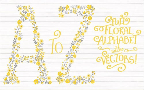 yellow floral nursery alphabet letters from a to z