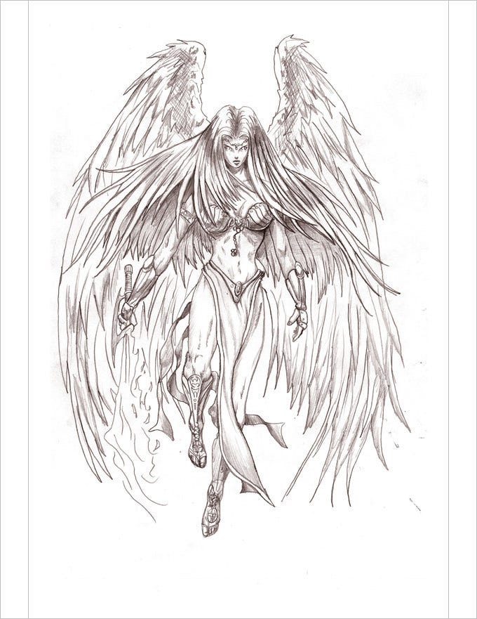 This angel drawing in pencil depicts power and wisdom the drawing portrays the ability of a woman to fight against anything this drawing has a strong