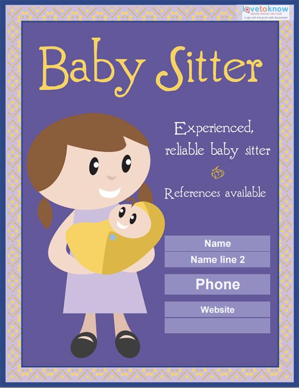 babysitter flyers template