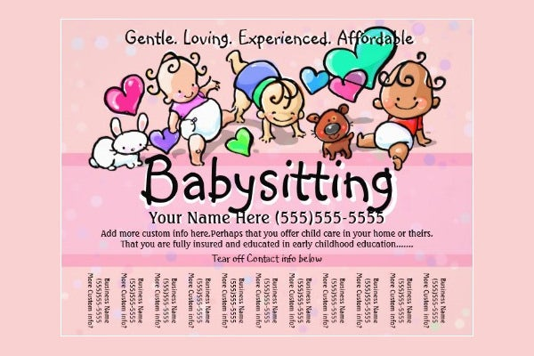 print babysitting advertisement templates babysitting flyer ideas