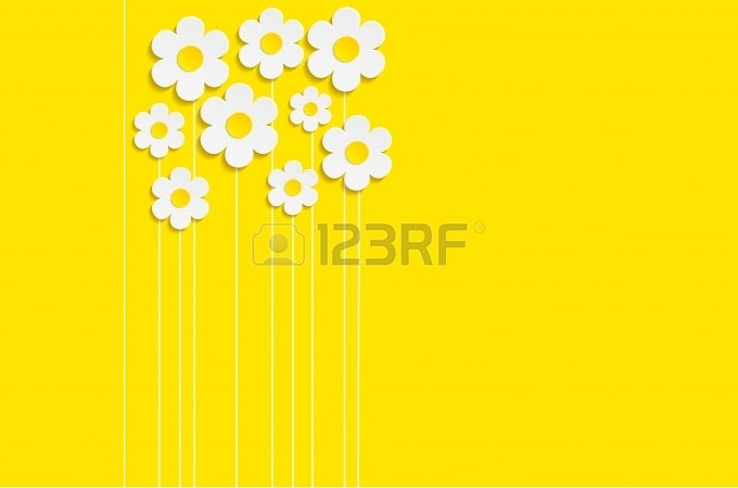 beautiful spring flowers yellow background vector