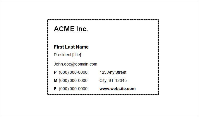 blank business card template word - Template For Business Cards