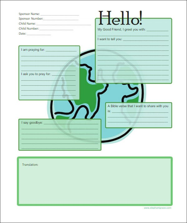 10 Letter Templates For Kids Free Sample Example Format Free