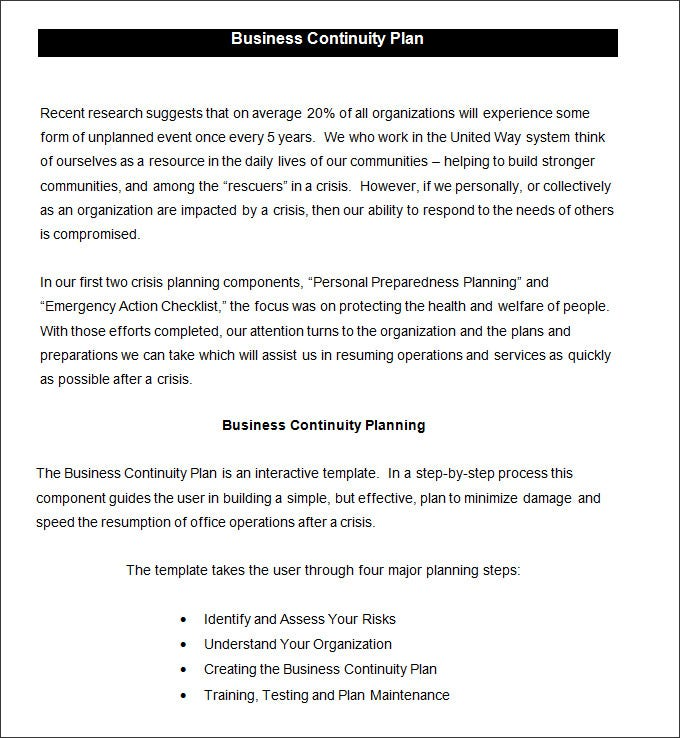 Business continuity plan template business continuity plan template 6 free word pdf documents business continuity checklist business continuity wajeb Choice Image