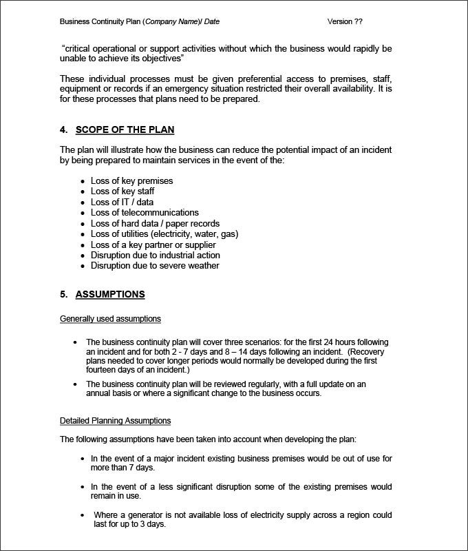 Business continuity plan template 9 free word pdf documents simple business continuity plan template friedricerecipe Choice Image
