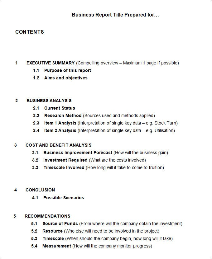 Good Format For Business Report