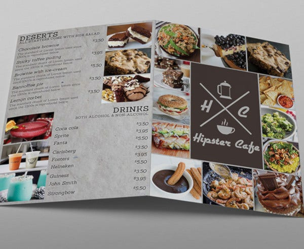 cafe menu bifold