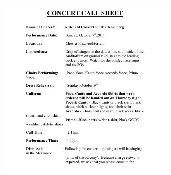 call sheet concert