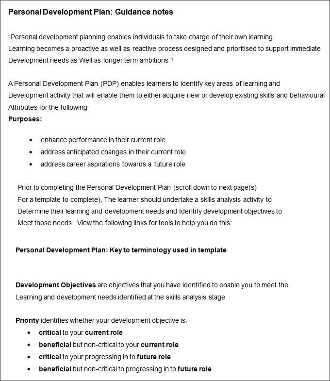 Career Development Plan Template  Personal Development Plan Template Word