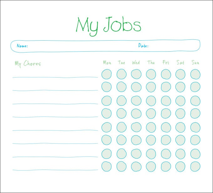 Kids Chore Chart Templates - Free Word, Excel, PDF Documents ...