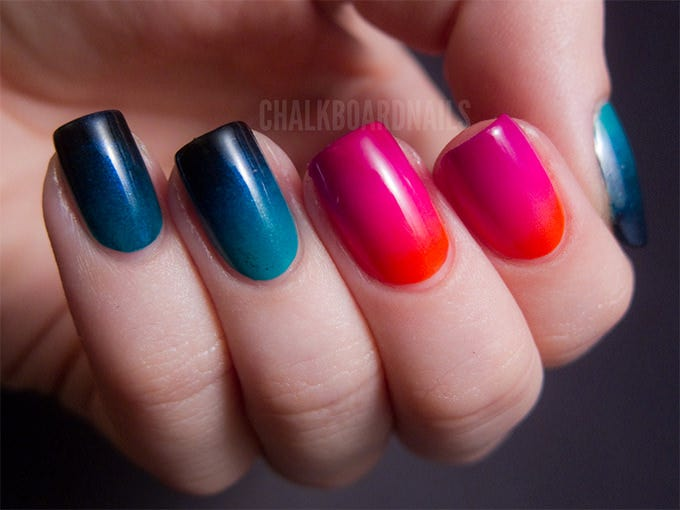 crazy gradient nails design