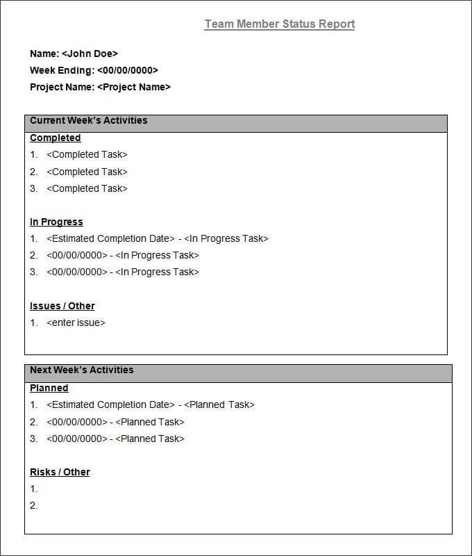 job report template – Job Task Template