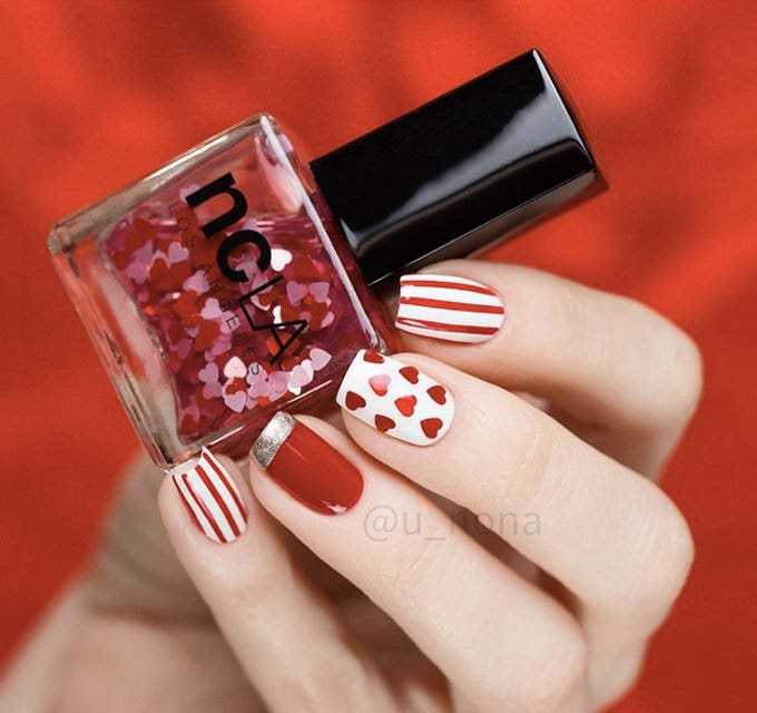 easy valentine nail design
