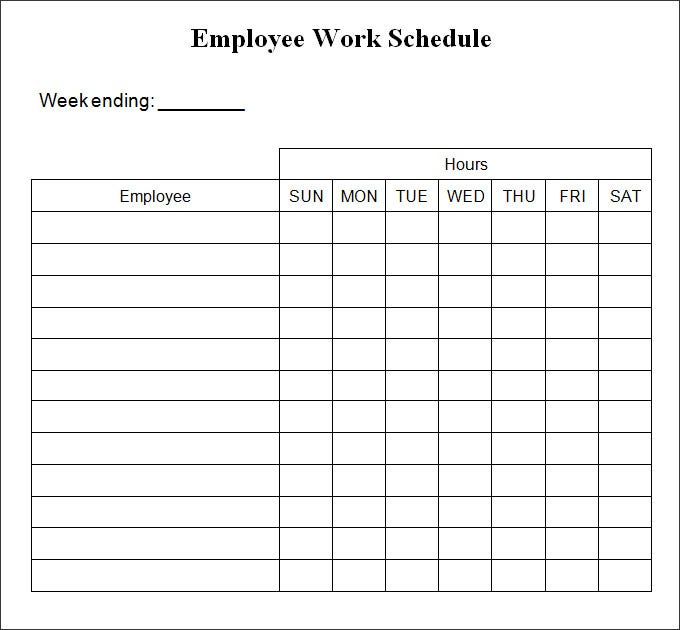 Work Schedule Templates Free Downloads | Calendar Template 2016